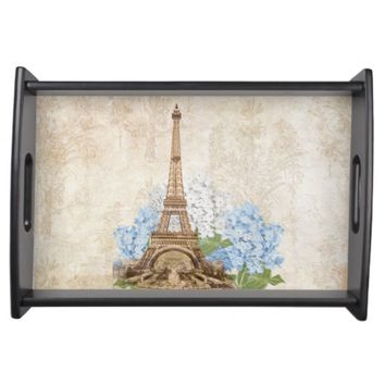Paris Vintage Blue Hydrangea Serving Tray