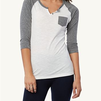 Pocket High Low Raglan Top