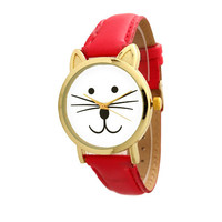 Cat Face Watch in Red