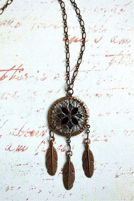 Brass Dream Catcher Necklace by PurpleShmurpleShoppe on Etsy