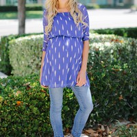 Royal Blue Grey Printed Chiffon 3/4 Sleeve Maternity Tunic