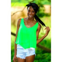 Beg Your Pardon Crop Top-Neon Green