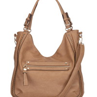 side stud satchel with zip pocket
