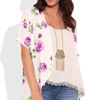 Short Sleeve Kimono with Purple Rose Print