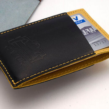 BLACK, Leather cardholder, Business cardholder, Small Wallet