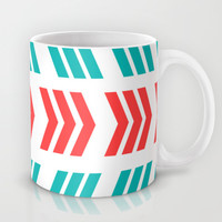 Coral Pop and Aqua Zig Zag Mug by Lisa Argyropoulos | Society6