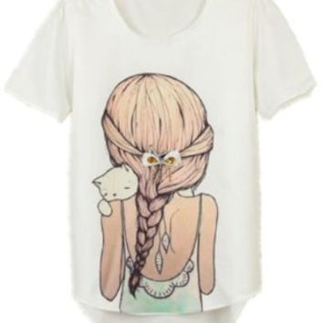 2014 Cute Fashion Women's Girls Korean Short Sleeve Loose Casual T-shirt Tops