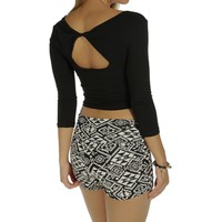 Black Twist Back Crop Top