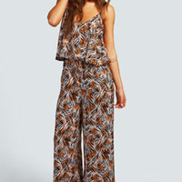 Tessa Tiger Print Frill Top Jumpsuit