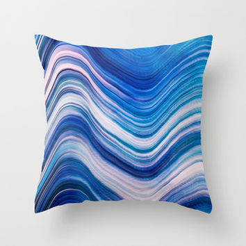 BLUE WAVE Throw Pillow by Catspaws | Society6