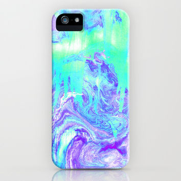 Melting Marble in Mint & Purple iPhone & iPod Case by Tangerine-Tane