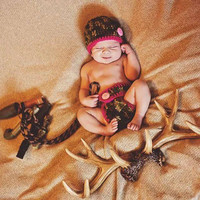 Newborn Pink Camo Little Hunting Girl Camo Baby Diaper Cover and Baby Hat Baby Shower