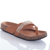 World Traveller Rhinestone Studded Band Thong Sandals - Tan
