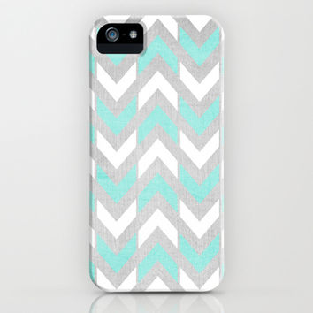 Teal & White Herringbone Chevron on Silver Wood iPhone & iPod Case by Tangerine-Tane