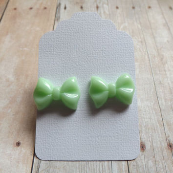 Mint Green Bow Earrings Girly Elegant Mint Studs Bridal Bridesmaids Gift Shabby Chic