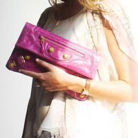 Balenciaga Pink Leather Clutch