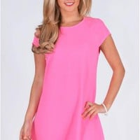 Chiffon Fabric Swing Dress In Neon Pink