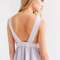 Oh My Love Lilac Plunging Skater Dress - Urban Outfitters