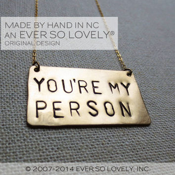 you're my person - handmade gold statement necklace - wedding engagement gift