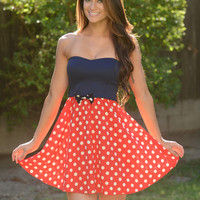 Minnie Mouse Dress - Navy/Red