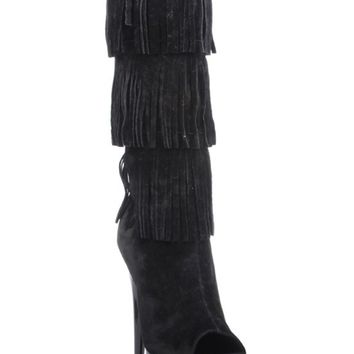 "Women's ""Amber"" Fringe Boot by The Highest Heel (Black)"