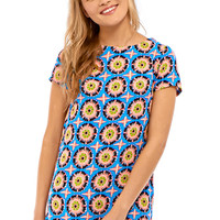 Sandie Bold Floral Print Shift Dress in Multi