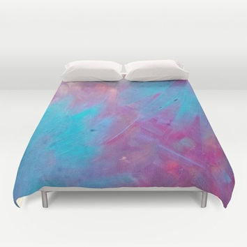 Blue Bloom Abstract Duvet Cover by DuckyB (Brandi)