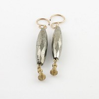 Faceted Pyrite & Bronze Earrings