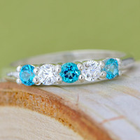 Christmas In July Paraiba Topaz Ring - Sterling Silver Ring - Gemstone Jewelry - Blue Gemstone - Teal Gemstone - Topaz Ring
