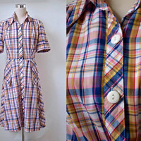 Vintage Shirt Waist Dress - Check Summer Dress - 70's Shirtwaister