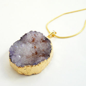 Purple Orange Natural Druzy Agate Gold Teardrop Pendant , Drussy Druzzy Stone Pendant, Select With Or Without Chain
