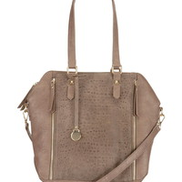 Metallic zip textured satchel