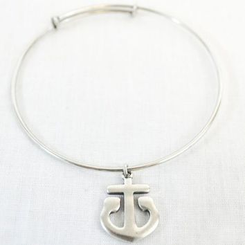 Antique Silver Anchor Charm Slide Bracelet
