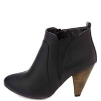 Elasticized Cone Heel Ankle Boots