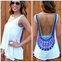 Veracruz Ivory Sleeveless Crochet Back Top