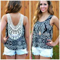 Aruba Honeymoon Taupe & Black Crochet Back Top
