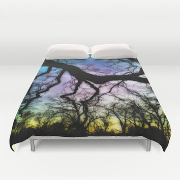 Twisted Tree Sunset Duvet Cover by DuckyB (Brandi)