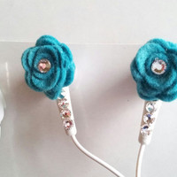 Turquoise Felt Rose Ear Buds With Swarovski by HoneyBadgerBuds
