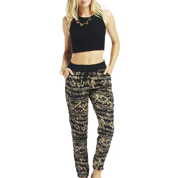 Distressed Aztec Print Jogger Pants | Wet Seal