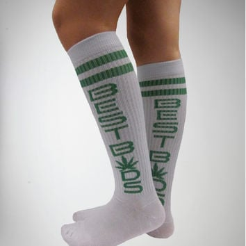 Best Buds White Knee High Socks