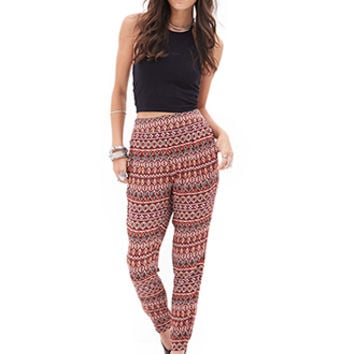 Tribal Print Pleated Joggers