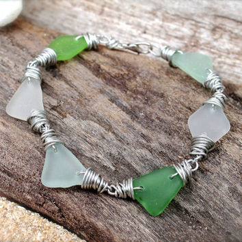 Sea Glass Bracelet - Sea Gypsy Jewelry from Hawaii - Wire Wrap Seaglass Jewelry - Beach Boho Bracelet - Gypsy Bracelet - Bohemian Jewelry