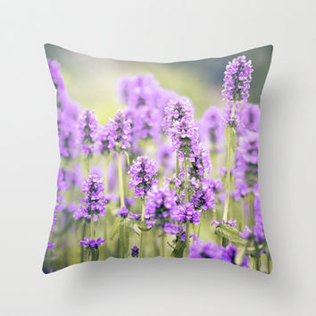 lavender field Throw Pillow by Sylvia Cook Photography