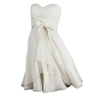 VILAVI Column Sweetheart Short Chiffon Bowknot Draped Graduation Dresses