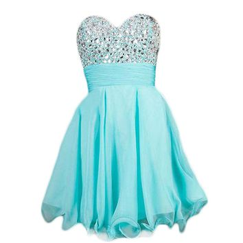 VILAVI A-line Sweetheart Short Chiffon Crystal Graduation Dresses