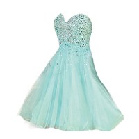 VILAVI A-line Strapless Sweetheart Short Tulle Sequin Beading Homecoming Dresses