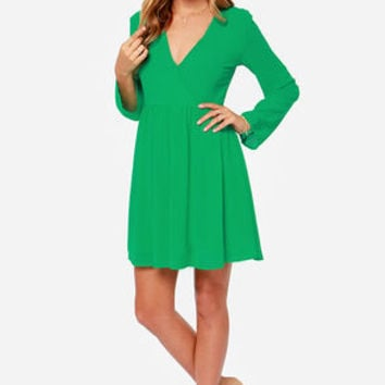 LULUS Exclusive Wrapquest Long Sleeve Green Dress