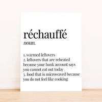 Printable Art Rechauffe Definition Typography Poster Home Decor Kitchen Decor