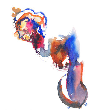 "Figurative Art, Abstract Figure Painting, Surreal Art, Fashion Illustration, 6"" x 6"" - 155"