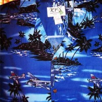 KY'S HAWAIIAN SHIRT VINTAGE WWII JETS 100% COTTON !SIZE 3XL!MADE IN HAWAII